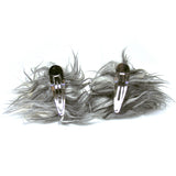 Faux Fur Party Accessory Costume Furry Ear Clips — Salt & Pepper