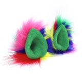 Crazy Color Fur Pointed Cat Ears Costume Party Accessories Wolf Ear Clips
