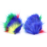 Faux Fur Party Accessory Costume Furry Ear Clips — Primary Multicolor Green Inside