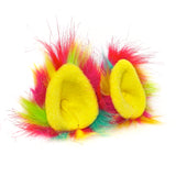 Faux Fur Party Accessory Costume Furry Ear Clips — Multicolor Pink