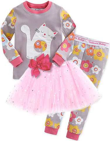 Children's Cotton Pajamas Cat PJs Jammies Set With Tutu