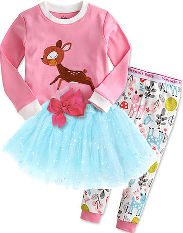 Children's Cotton Pajamas Pink Deer PJs Jammies Set With Tutu