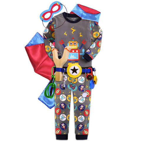 Children's Cotton Pajamas Robot PJs Jammies Set with Cape and Belt