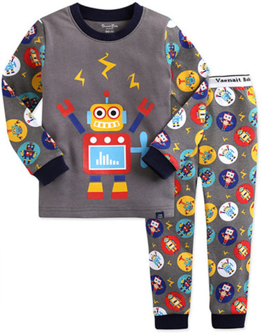 Children's Cotton Pajamas Robot PJs Jammies Set