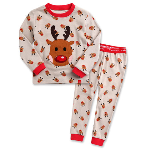 Children's Cotton Pajamas Rudolph PJs Reindeer Jammies Set