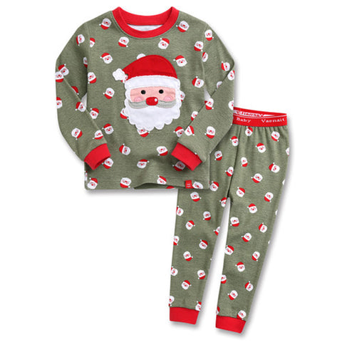 Children's Cotton Pajamas Santa PJs Jammies Set