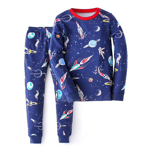 Children's Cotton Pajamas Space PJs Jammies Set