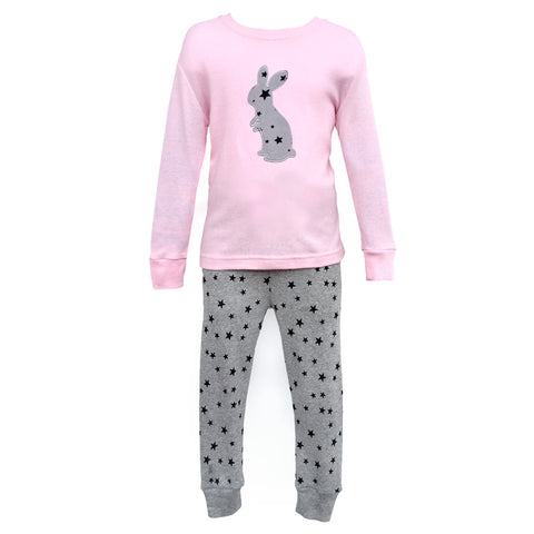 Children's Cotton Pajamas Grey Bunny PJs Rabbit Jammies Set