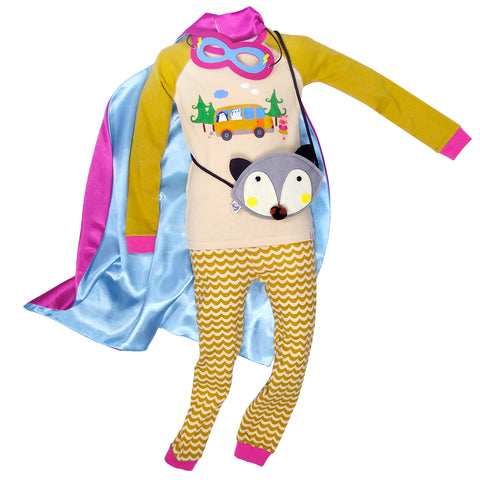 Children's Cotton Pajamas Camping Pals PJs Jammies Set with Cape and Purse
