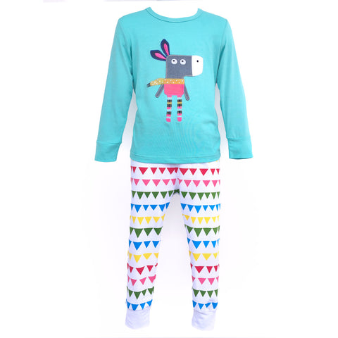 Children's Cotton Pajamas Donkey Party PJs Jammies Set