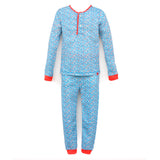 Children's Cotton Pajamas Blue Flowers PJs Jammies Set