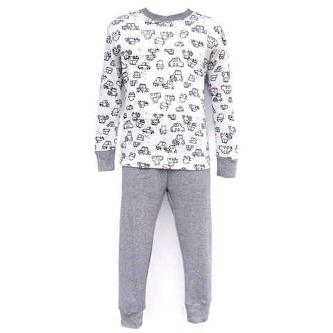 Pajamas, Children's PJs Cotton Jammies Set – Grey Cars