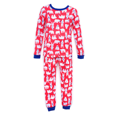 Children's Cotton Pajamas Polar Bears PJs Jammies Set
