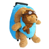 Roller Bag Kids Rolling Backpack Luggage with Removable Plush Stuffed Animal Aviator Bear