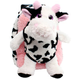 Roller Bag Kids Rolling Backpack Luggage with Removable Plush Stuffed Animal Cow