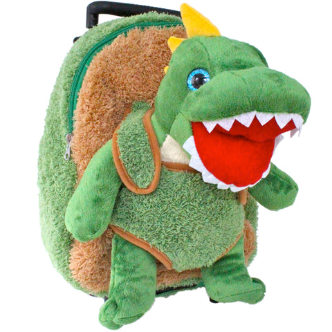Roller Bag Kids Rolling Backpack Luggage with Removable Stuffed Dinosaur