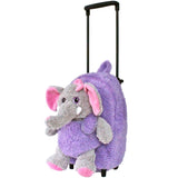 Roller Bag Kids Rolling Backpack Luggage with Removable Plush Stuffed Animal Elephant