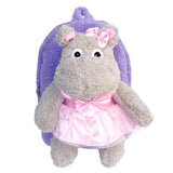 Roller Bag Kids Rolling Backpack Luggage with Removable Plush Stuffed Animal Ballerina Hippo