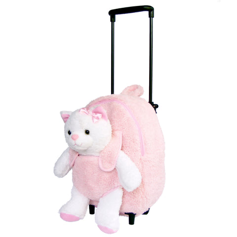 Roller Bag Kids Rolling Backpack Luggage with Removable Plush Stuffed Animal Kitty Cat