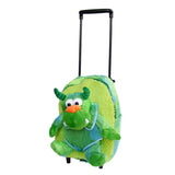 Roller Bag Kids Rolling Backpack Luggage with Removable Plush Stuffed Animal Monster