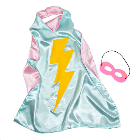 Knotty Kid - Kids Superhero Cape Double Sided Super Hero Capes for Girls Seafoam Pink