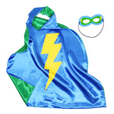 Knotty Kid - Kids Superhero Cape Double Sided Super Hero Capes for Boys Blue Green