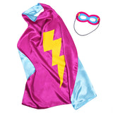 Kids Superhero Cape Double Sided Super Hero Capes for Girls Pink Gold