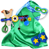 Green and Blue Kids Superhero Cape with Childrens Cuffs and Utility Tool Belt with Slingshot and Accessories