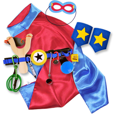 Red and Blue Kids Superhero Cape with Childrens Cuffs and Utility Tool Belt with Slingshot and Accessories