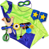 Navy and Lime Kids Superhero Cape with Childrens Cuffs and Utility Tool Belt with Slingshot and Accessories