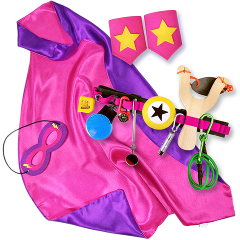 Pink and Purple Kids Superhero Cape with Childrens Cuffs and Utility Tool Belt with Slingshot and Accessories
