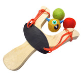 Wooden Slingshot Monster Launch Toy with felt ammo balls