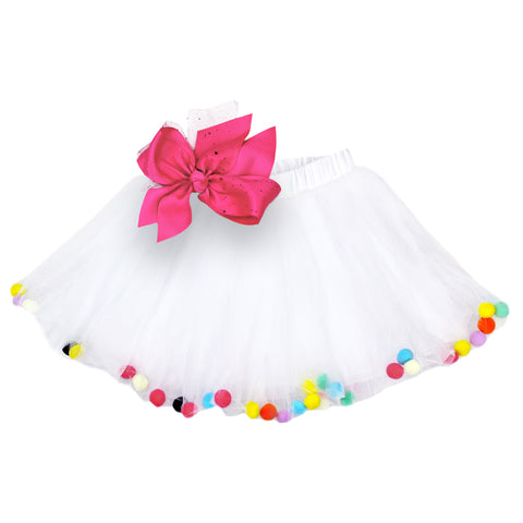 Pom Pom Tutus Girls Photo Prop Birthday Party Tutu Skirt with Bow