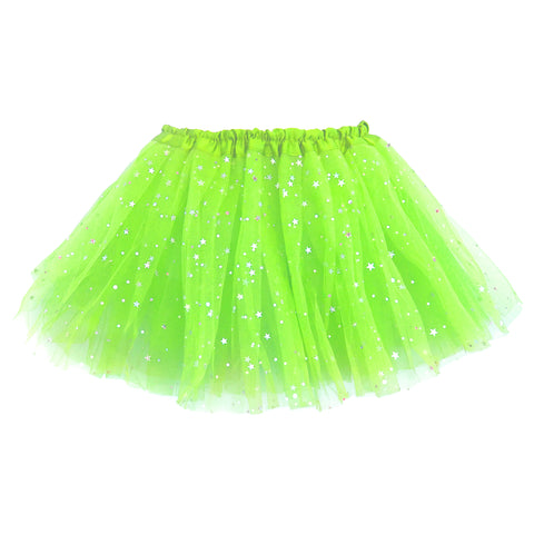 Girls Sparkle Tutu Layered Princess Ballet Skirt Green