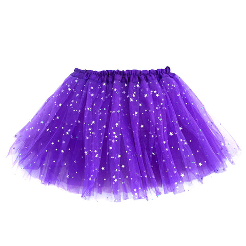 Girls Sparkle Tutu Layered Princess Ballet Skirt Dark Purple