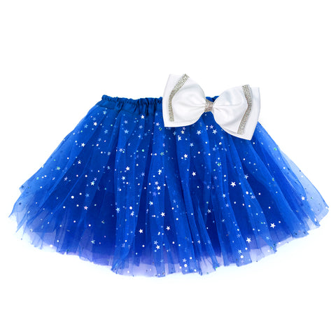 Girls Sparkle Tutu Layered Princess Ballet Skirt Dark Blue