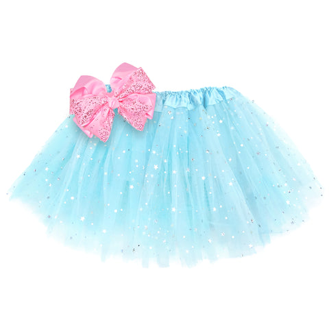 Girls Sparkle Tutu Layered Princess Ballet Skirt Ice Blue