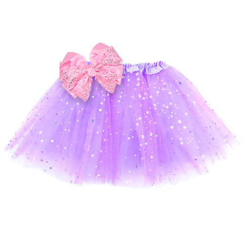 Girls Sparkle Tutu Layered Princess Ballet Skirt Light Purple