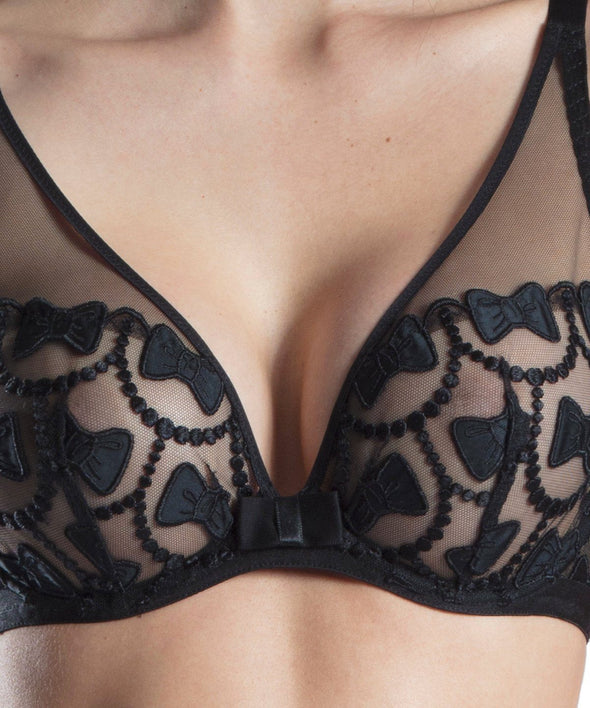 Viktor & Rolf X Aubade Bow Collection Triangle Plunge Bra - Sugar Cookies Lingerie