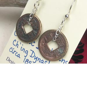Chinese Shipwreck Bronze Coins Cash Earrings