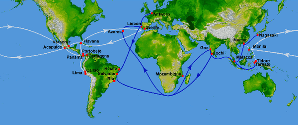 Spanish and Portuguese Trade Routes in the 16th Century