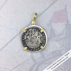 Dutch East India Company Ship Shilling 6 Stuiver Coin Pendant