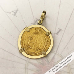 Spanish Escudo Doubloon 22K Gold Coin Pendant