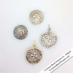 Medieval Crusader Hammered Penny Coins in Gold and Silver Pendants