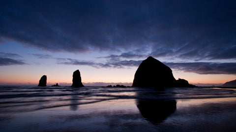 Cannon Beach Haystack Rock At Sunset Cannon Beach Oregon