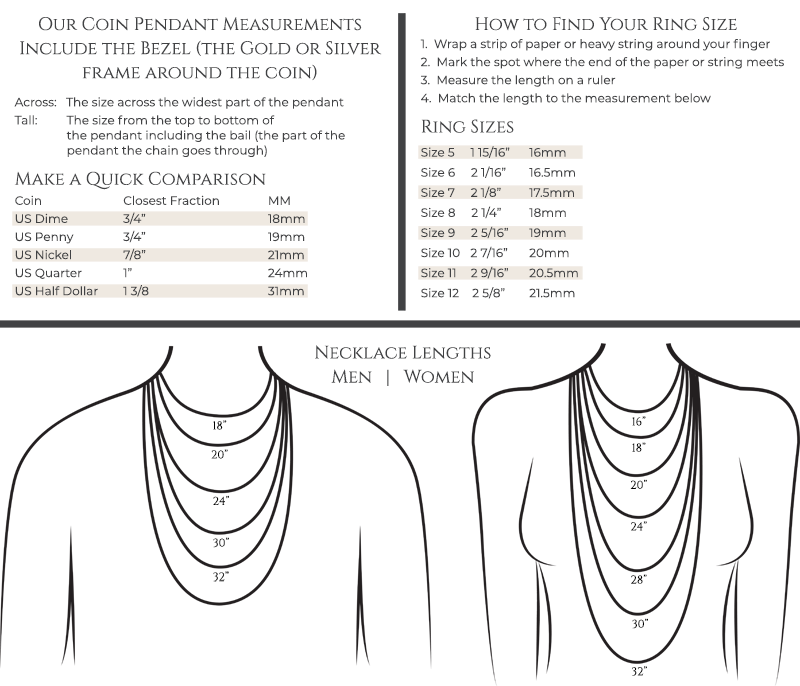 Pendant Necklace and Ring Size Guide