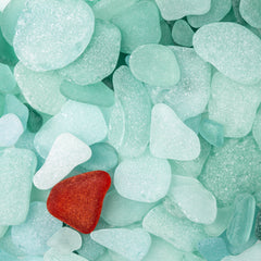 Red and Aqua Sea Glass