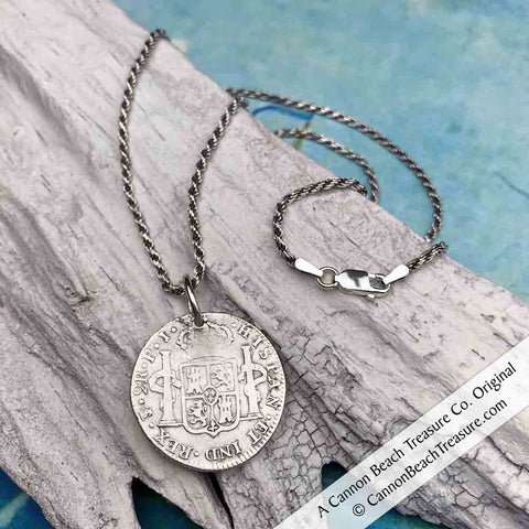 Two Reale Spanish Piece of Eight Pirate Coin Necklace