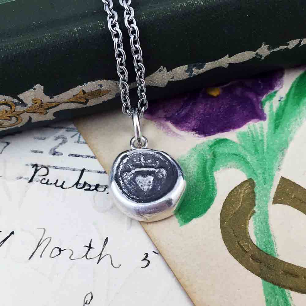 1700s Irish Claddagh Fine Silver Wax Seal Necklace