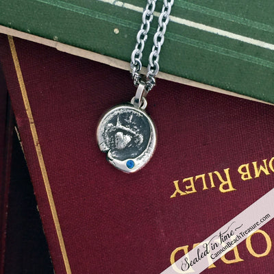 1700s Irish Claddagh Wax Seal Pendant with Genuine Gemstone